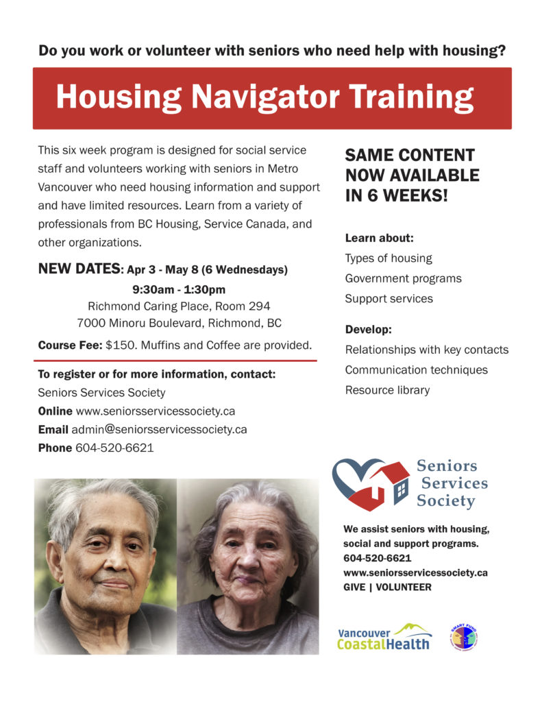 seniors services society housing navigator training poster