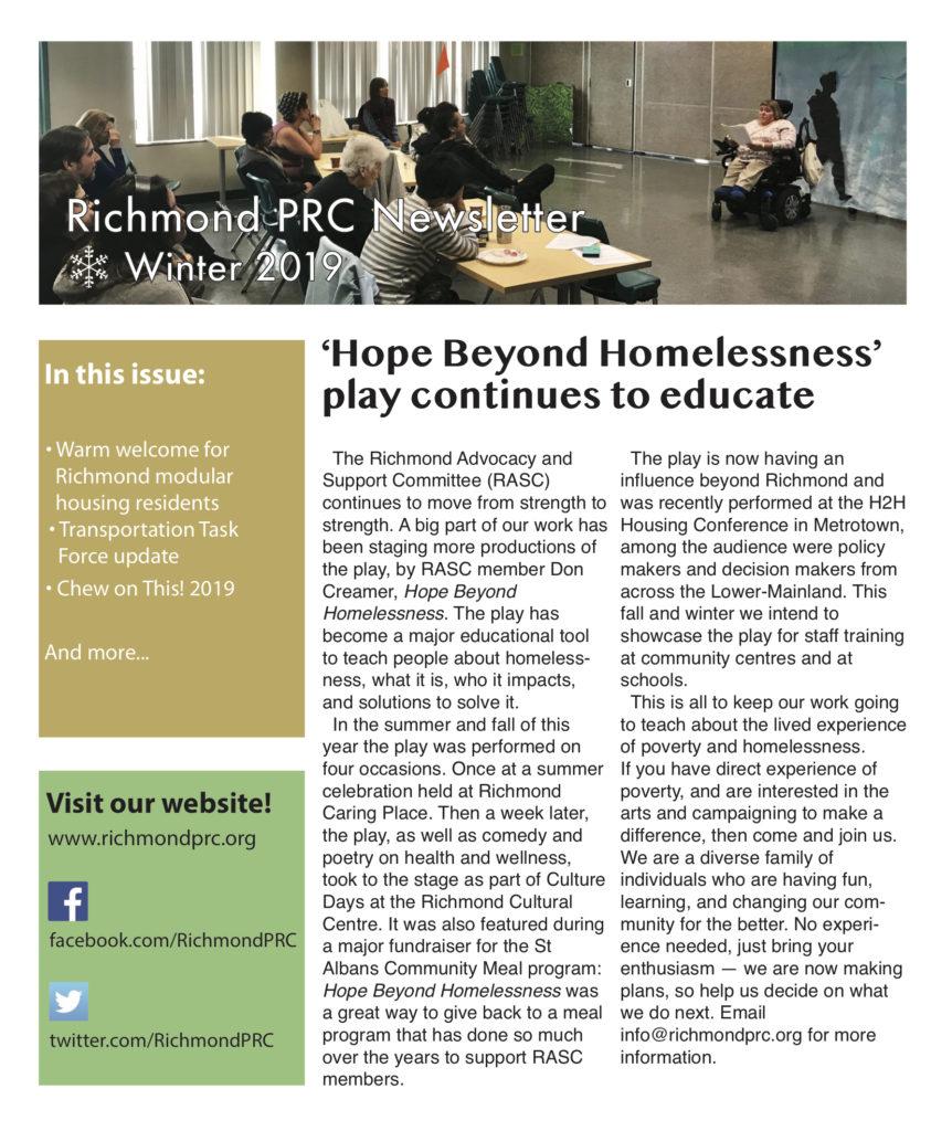 richmond prc winter 2019 e-newsletter page one