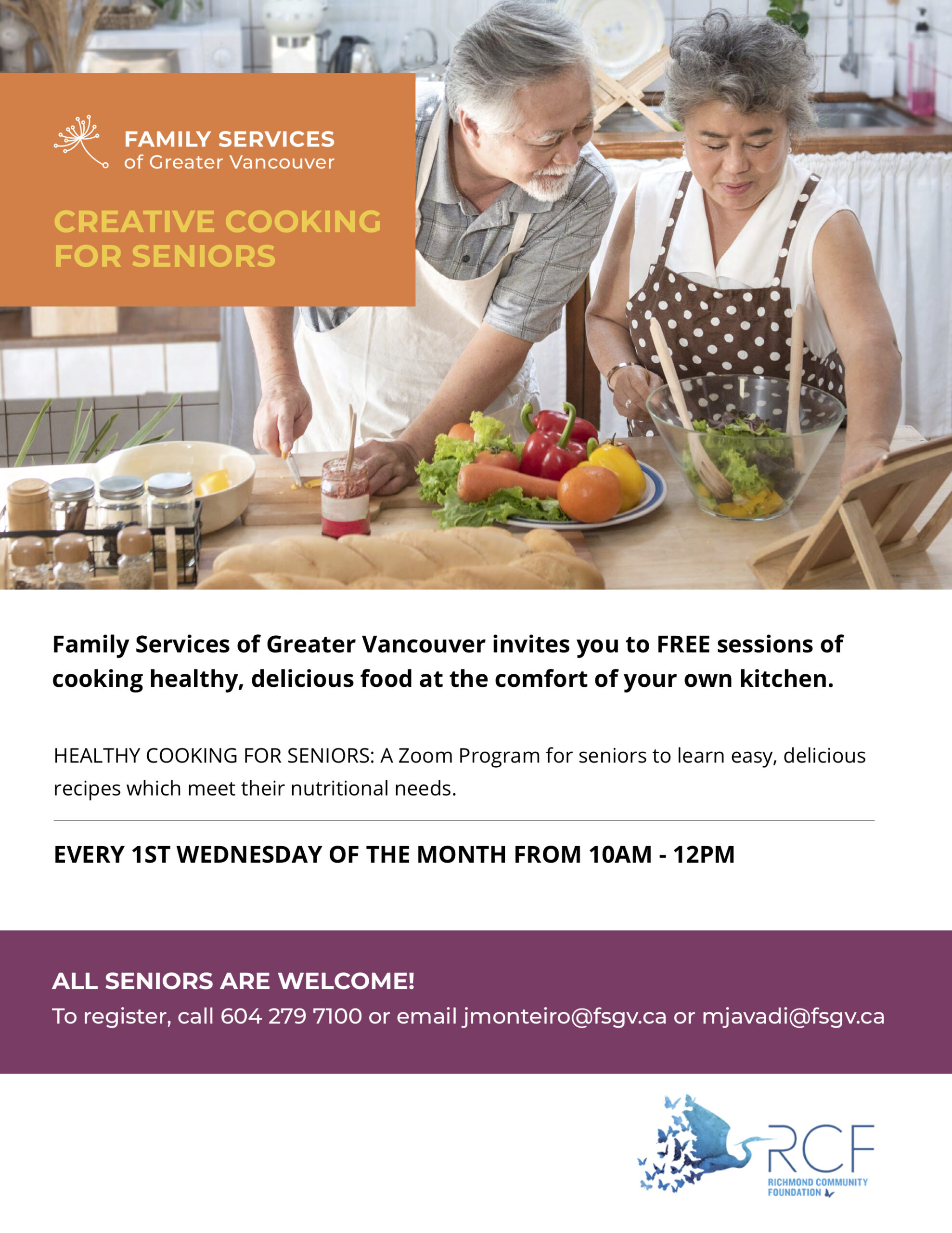 family services of greater vancouver cooking for seniors poster